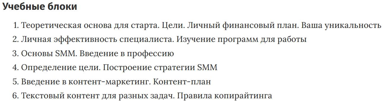 Учебные блоки курса «SMM-менеджер» Interra