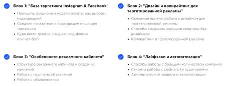 Содержание курса «Таргетированная реклама в Instagram & Facebook» от ProductStar