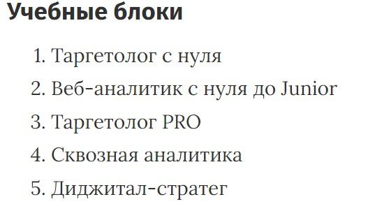 Учебные блоки курса «Таргетолог с нуля до PRO» Skillbox