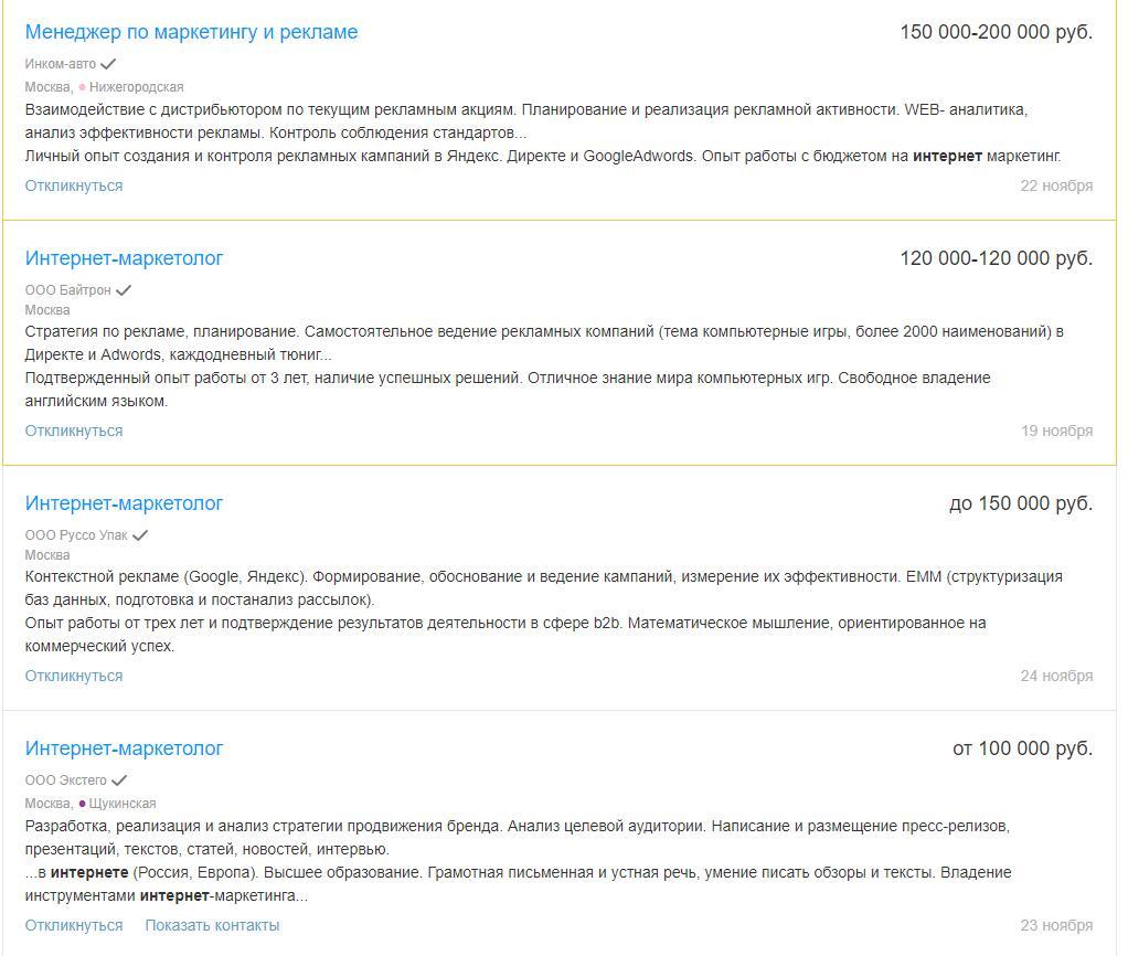Вакансии для опытных Интернет-маркетологов в Москве