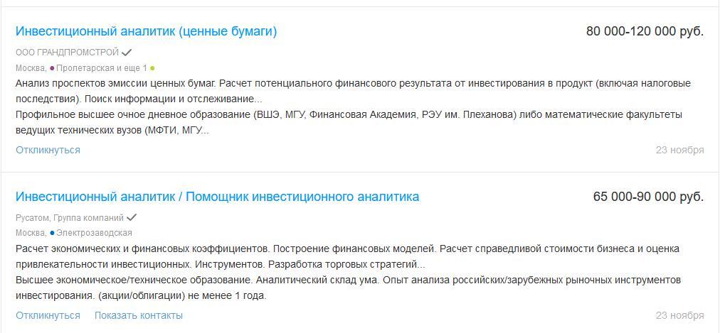 Вакансии и зарплаты инвестиционных аналитиков в России