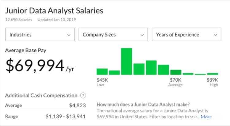 Зарплата unior Data Analyst в США