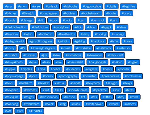 Запрещенные хештеги в Инстаграме - список