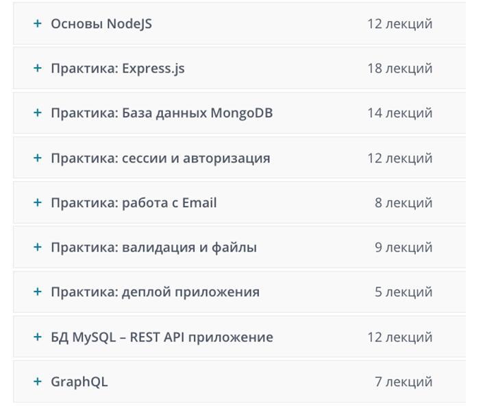 Программа курса от Udemy