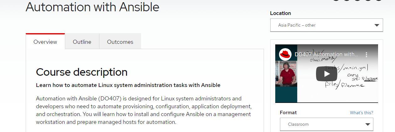 Записаться на курс «Automation with Ansible I» на английском языке от redhat.com