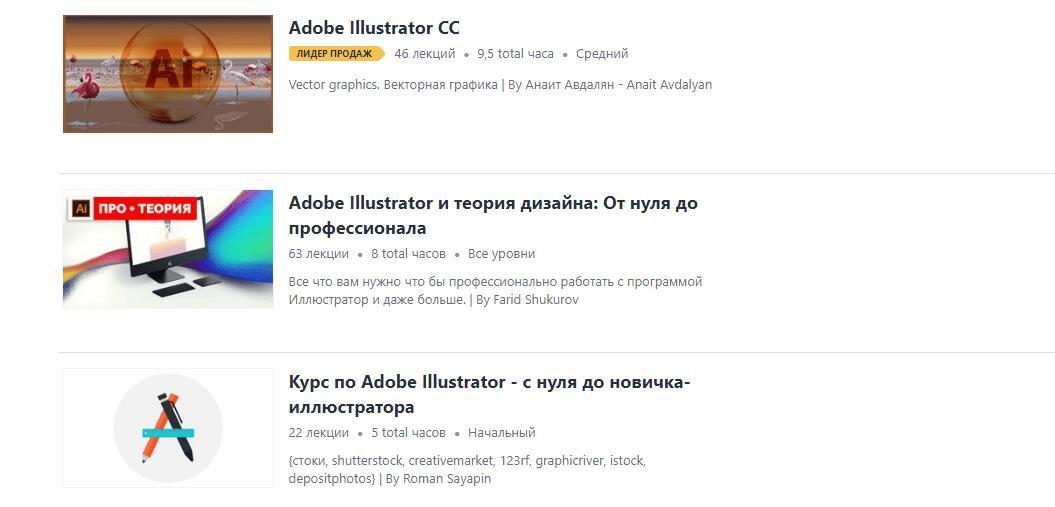 Курсы по теме «Adobe Illustrator» от Udemy