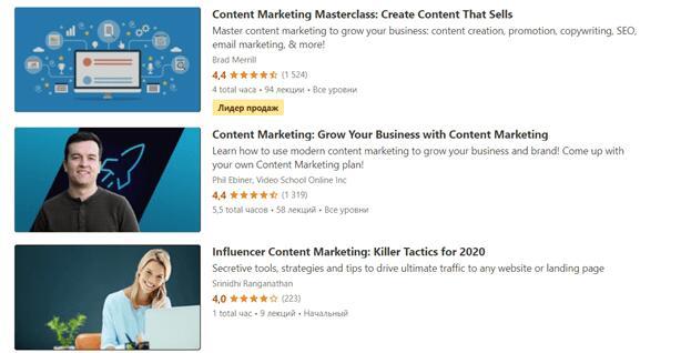 Программы «Контент-маркетинг» на Udemy