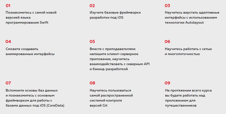 Ключевые навыки курса «iOS-разработчик» от Contentend