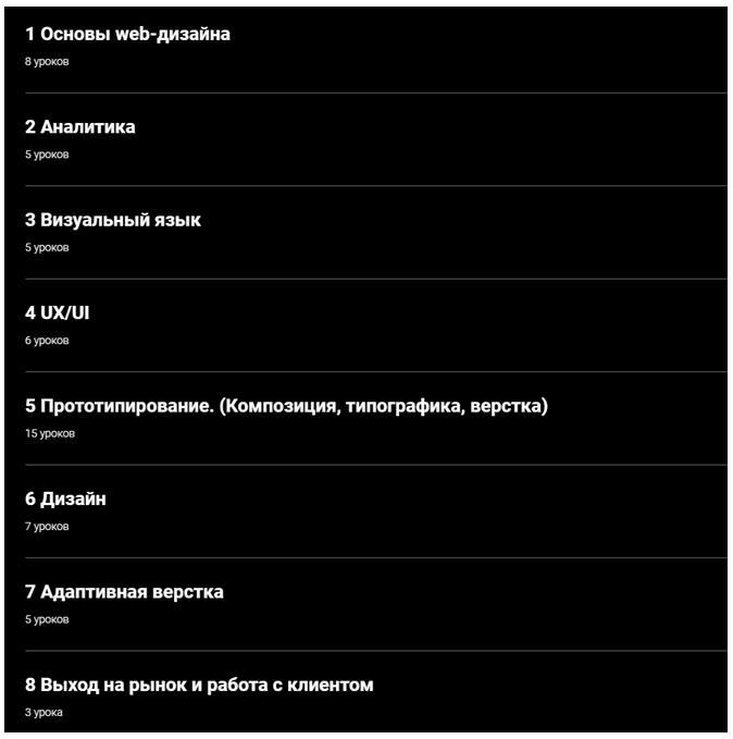 Программа курса наука интерфейсов от Науки дизайна