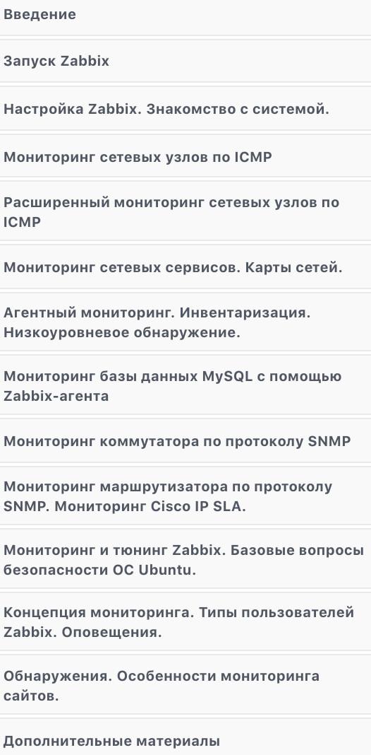 Программа курса «Zabbix - развертывание полноценного мониторинга» от Udemy