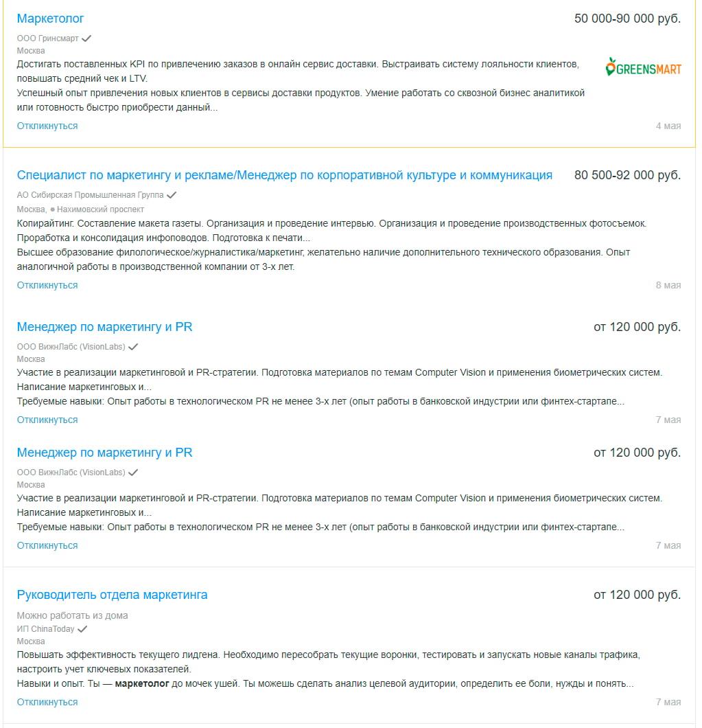 Вакансии менеджмент-маркетолога - Москва
