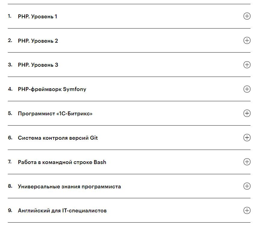 Программа курса Профессия «PHP-разработчик» от Skillbox