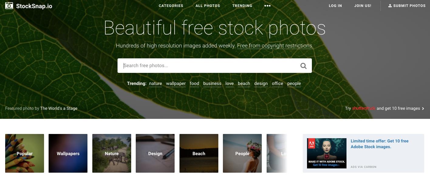 StockSnap — сайт с профессиональными фотографиями
