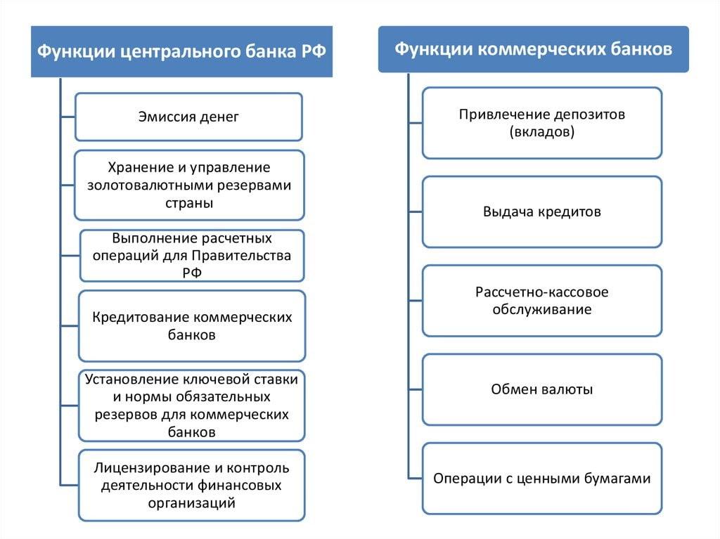 Функции центрального банка России и коммерческих банков