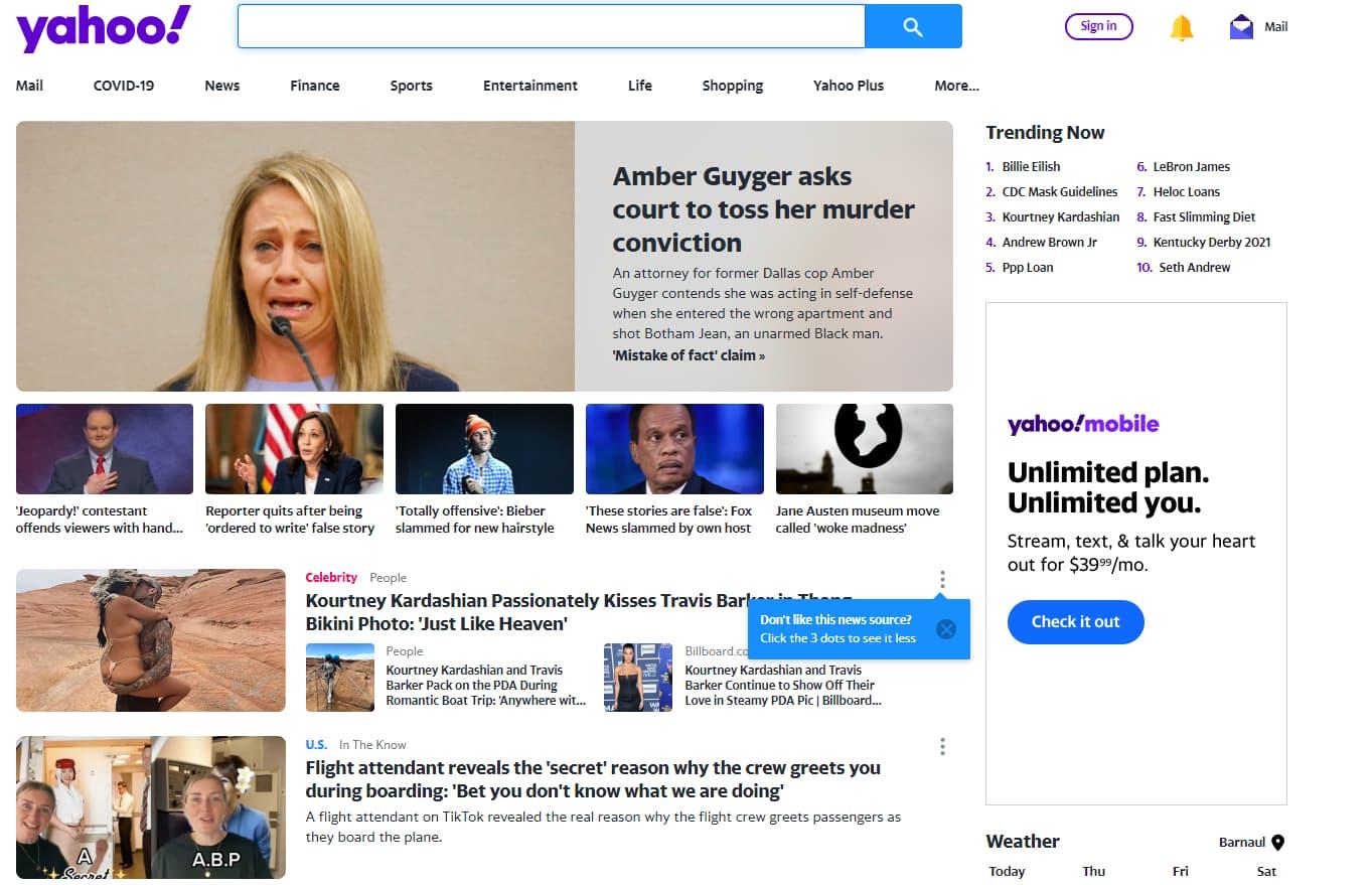 страницы портала Yahoo