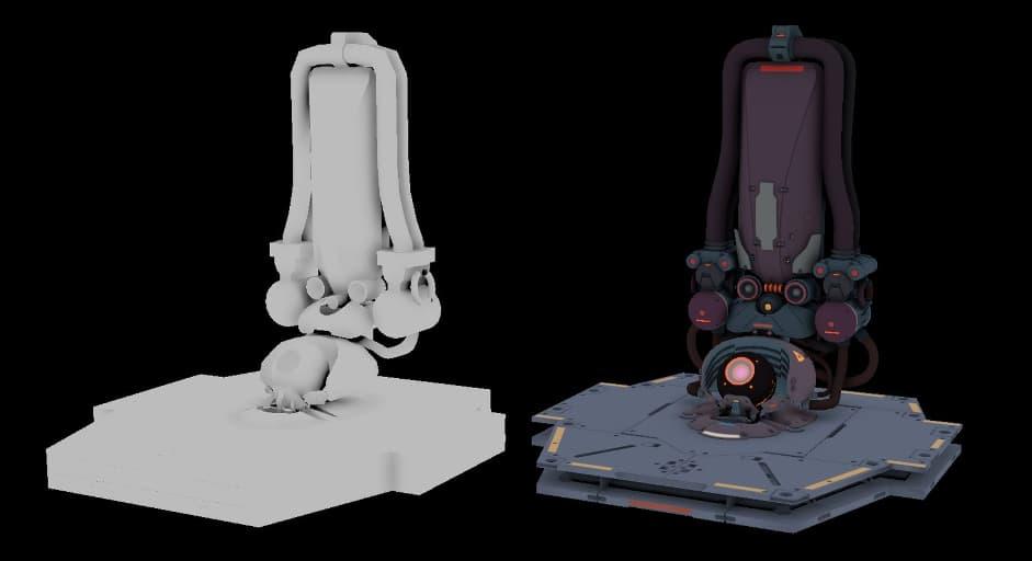 Слева — быстрый драфт, справа — готовая модель. Формы те же
