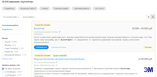 На портале hh.ru опубликовано 38 000+ вакансий бухгалтеров